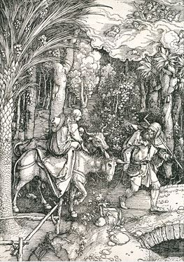 Albrecht Dürer's woodcut ink-on-paper of Flight into Egypt, part of the V&A collection, London Source: http://www.vam.ac.uk/users/node/2631