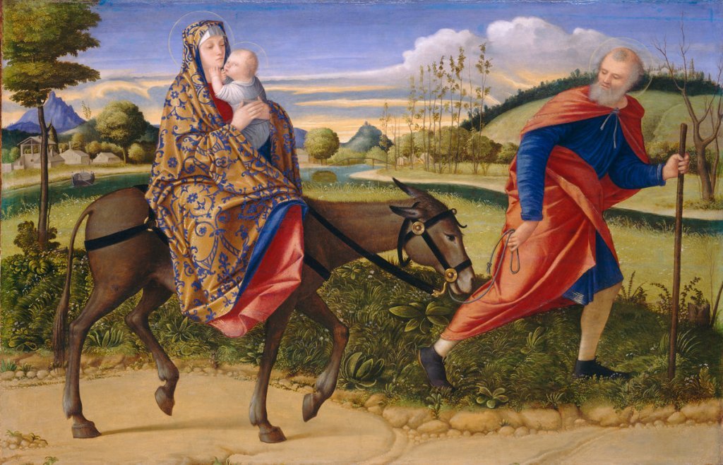 Venetian artist Vittore Carpaccio's Flight into Egypt  Source: https://www.nga.gov/collection/gallery/gg15/gg15-32.html