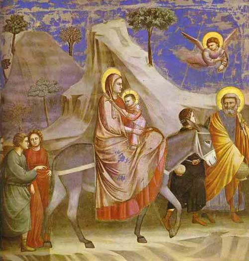 Giotto di Bondone's Flight into Egypt, executed as a fresco for the Scrovegni Chapel, Padua, Italy. Source: http://www.historyofpaintings.com/history-of-paintings/gothic-art.html