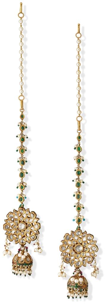 Lot 25: A Pair Of Diamond 'Polki' Ear Pendants