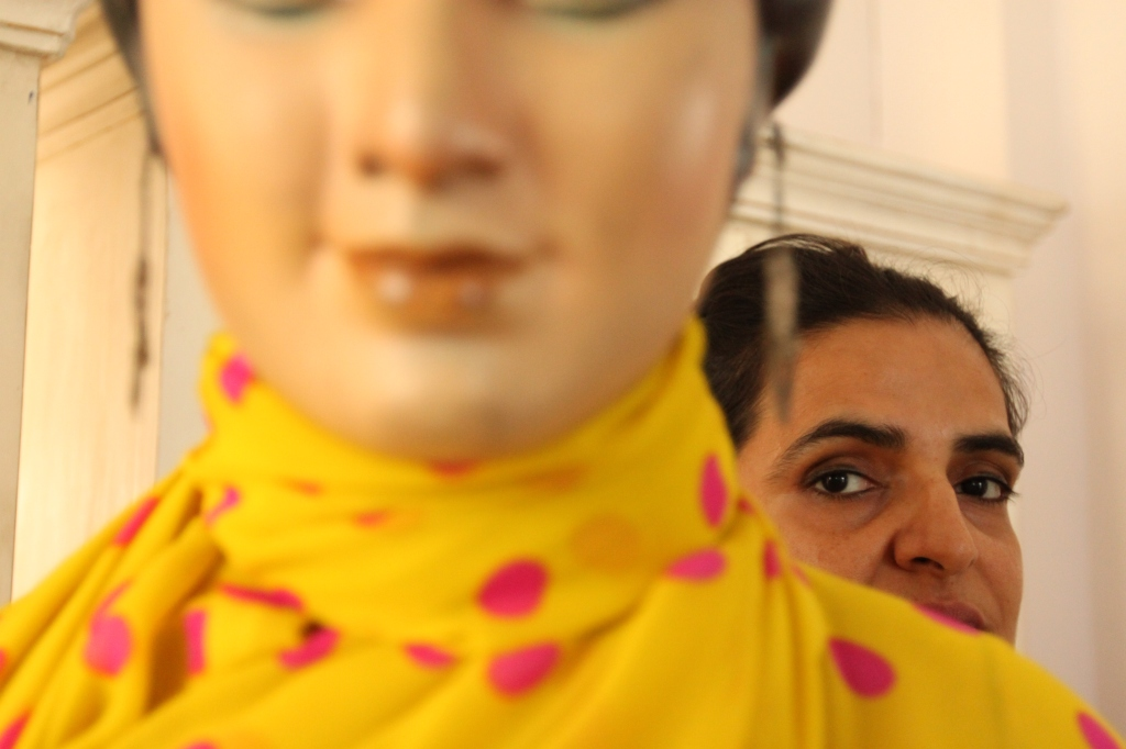 """""""I am reminded of the Wizard of Oz who puppeteered fantastic illusions – here, Bharti Kher keeps a watchful eye on the lifeless, yet lively, mannequin."""""""