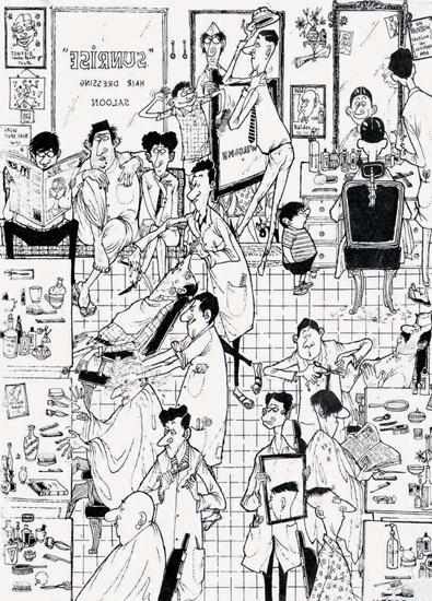 """The Barber's Shop"" by Mario Miranda Digital print on paper"