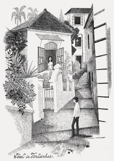 """Street in Fontainhas"" by Mario Miranda Digital print on paper"