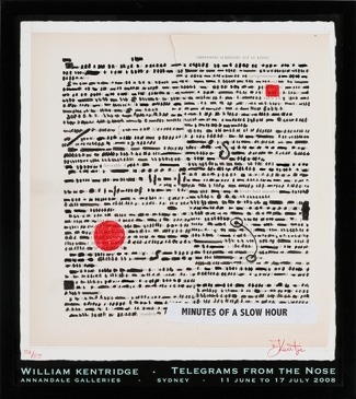 WILLIAM KENTRIDGE - A LIFETIME OF ENTHUSIASM, Annandale Galleries Poster for Telegrams From The Nose, 11 June to 17 July, 2008