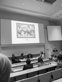 Krishen Khanna on the 'Progressives' at the Kenneth Clark Lecture Theatre, The Courtauld Institute of Art. Credits: Grosvenor Gallery, London.