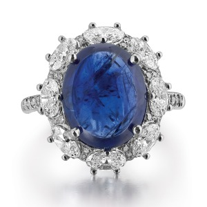 A Burmese Sapphire and Diamond Ring (on auction)