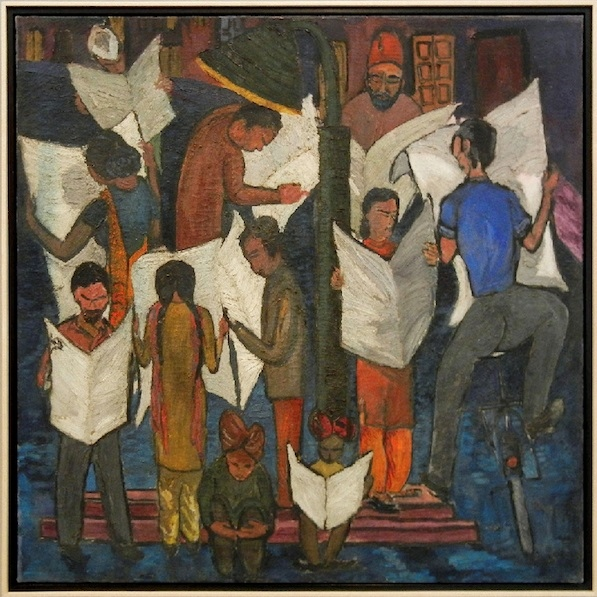 Krishen Khanna, News of Gandhiji's Death (1948) Image courtesy Grosvenor Gallery