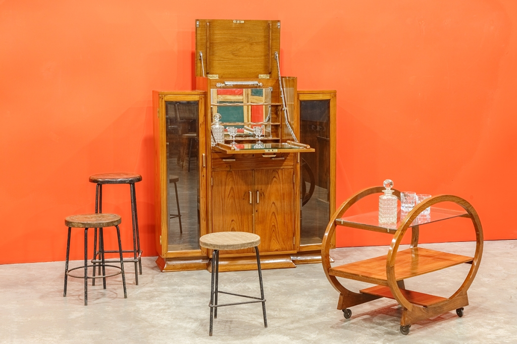 Art Deco Bar Cabinet; Chandigarh Stools by Pierre Jeanneret; Art Deco Trolley