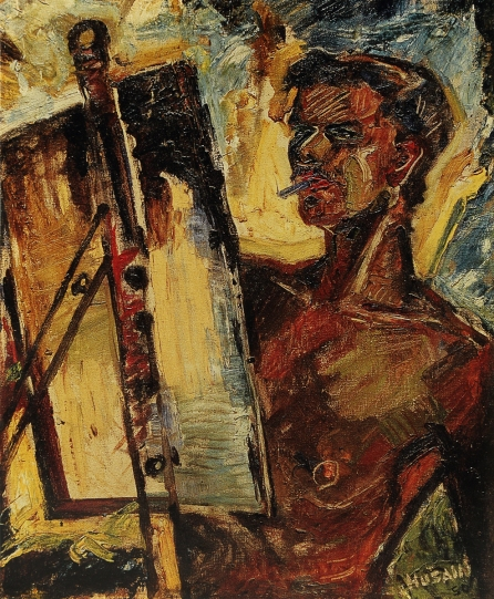 M F Husain, Portrait of Souza, 1950